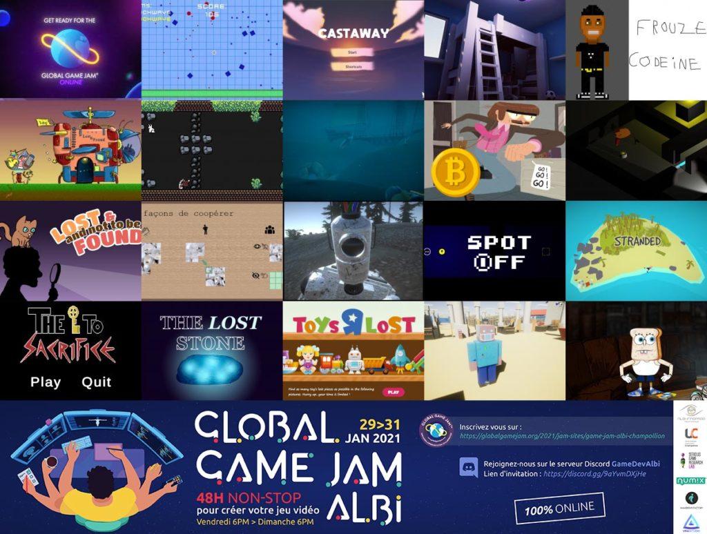 Les jeux de la GGJ21 Albi